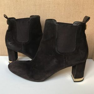 "Tory Burch Brown Suede 2.75"" Heel Ankle Boots Sz 9"